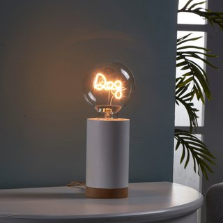 Cylindrical wooden night light - with 1 puppy LED bulb
