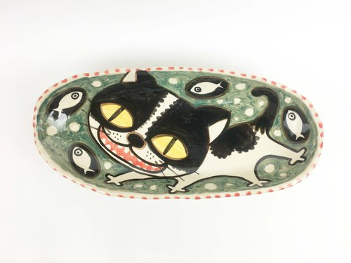 Nice Little Clay handmade six foot plate _ fish cute cat 0305-04
