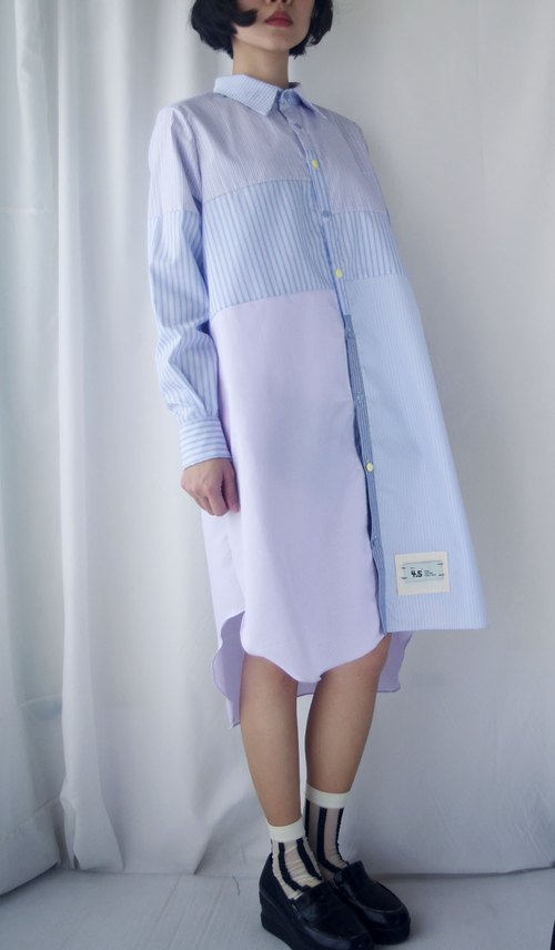 Design hand-made - boyfriend collage stripes long shirt shirt dress