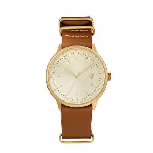 Chop Brand Swedish brand - Harold series gold dial honey brown military leather watch