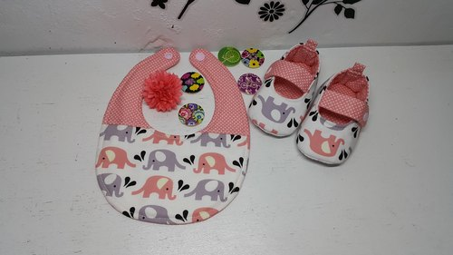 Elephant in water births ceremony baby bibs shoes +