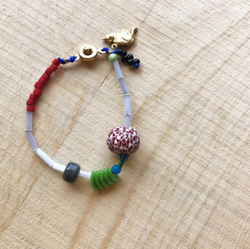 [ Cat and Mice • Beads beat Beads] bracelet collection-013 蔥白。