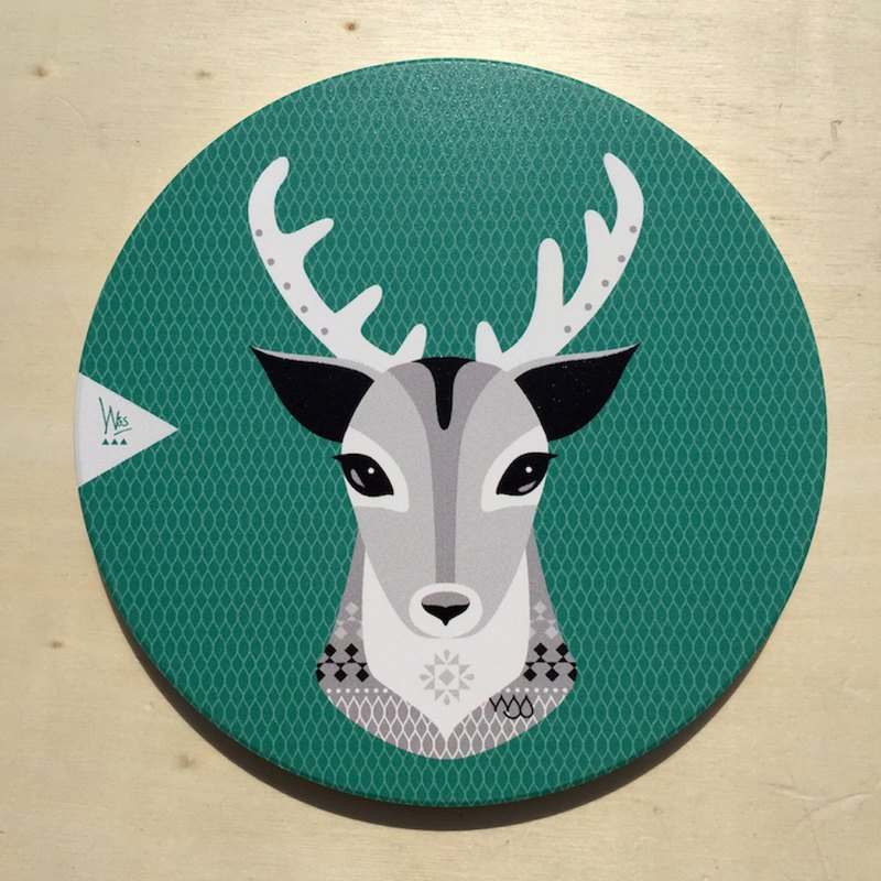 [Forest Animal Series]Q White Deer Ceramic Coaster