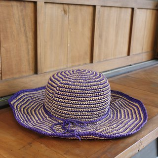 Handmade - ladylike two-tone hat - hand-woven - travel / light travel / birthday gift / secret