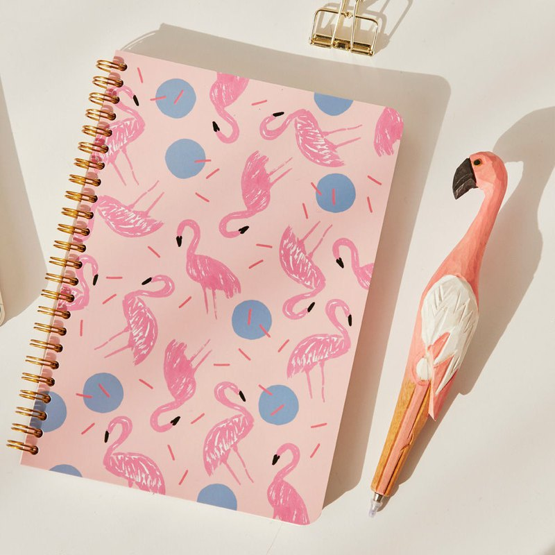 7321 Design BBH Gold Ring Notebook - Flamingo, 73D74027
