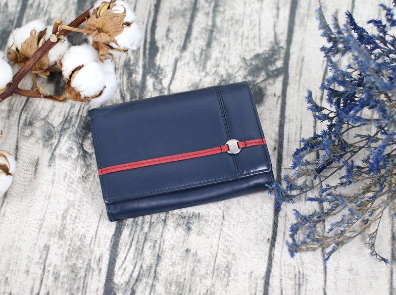 Back to Green::agnes b.深藍 防刮 vintage wallet ( WT-04 )