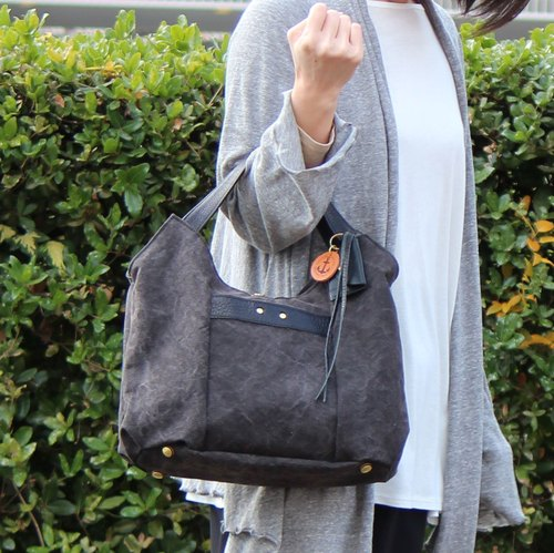 tanton-mini - croton tanned leather canvas × bamboo leather tote bag