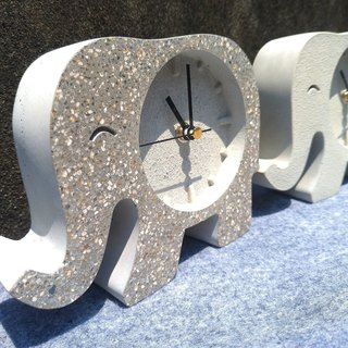 Cement Elephant Clock - Elephant Table Clock - Cement Clock - 13 cm high