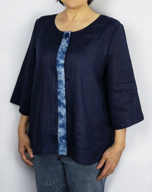 Zhuo also blue dyed - blue dyed front cover shirt