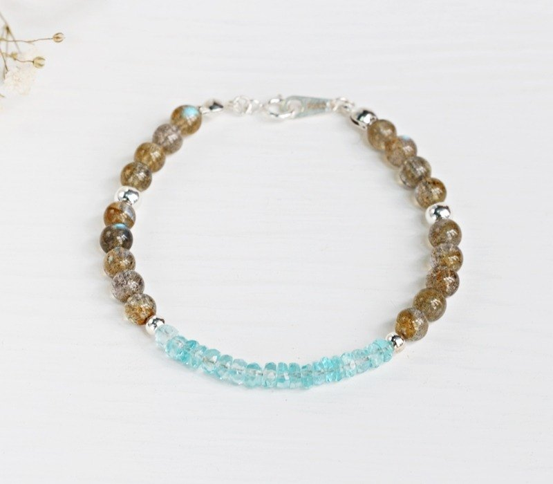 Apatite x labradorite x labradorite 925 sterling silver bracelet march birthstone Apatite silver bracelet light jewelry mothers day valentine birthday gift anniversary party banquet exchange gifts christmas