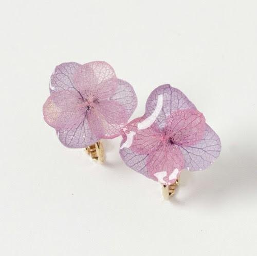 Hydrangea Hitomaru Earrings*Pink Purple*PC004E