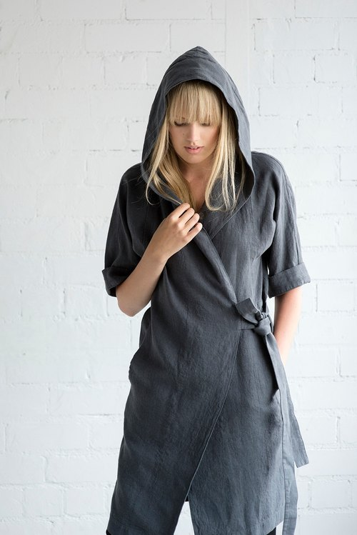 Linen Dress Motumo – 17S7 / Handmade wrapped linen summer dress with belt and hood / Washed linen dress