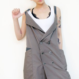 Double-breasted tunic windbreaker apron