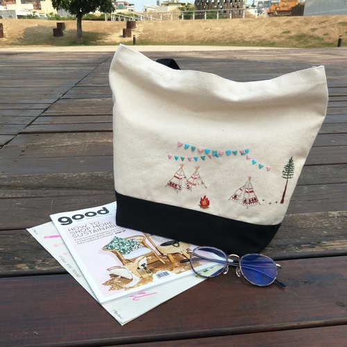 Camping | Embroidery Stitched Canvas Bag | Shoulder Tote Bag