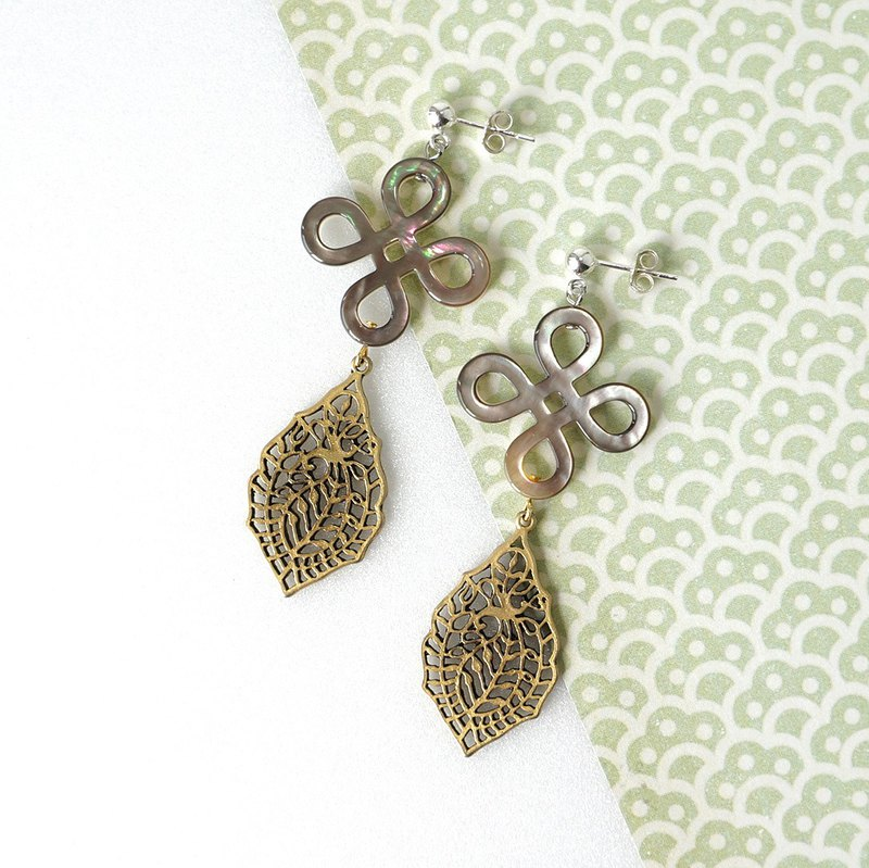 Chinese Knot Shell with Antique Gold Filigree Statement Earrings