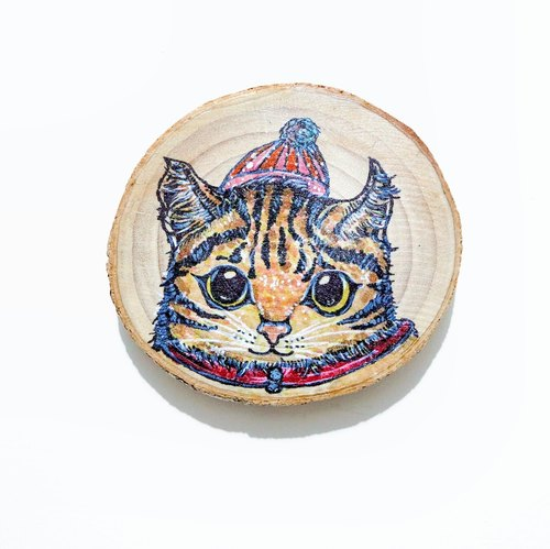 Limited - healing hand-painted wooden Videos (coaster) - Kitten's New Clothes