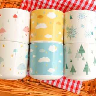 No weeping wooden ice cream ceramic cup mug color colorful rain theatrical design glossy enamel fresh girl light good cleaning