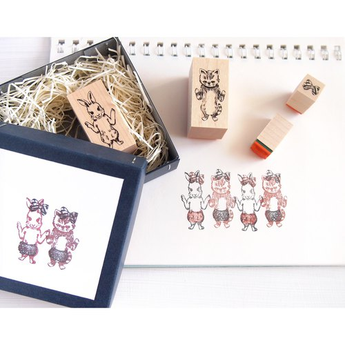 stamp box cat and rabbit