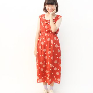 Vintage Childlike Cute Big Dots Brick Orange Red Loose Sleeve Vintage Dress Vintage Dress