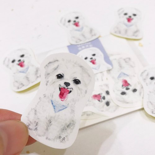 Puppy Sticker-Maltese,Watercolor,illustrations,Sticker,Maltese Sticker