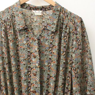 Vintage Gray Green Totem Print Loose Short Sleeve Vintage Dress Vintage Dress
