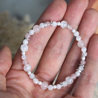 Exclusive special version of the crystal crystal white moonstone sakura natural ore bracelet 925 sterling silver bracelet