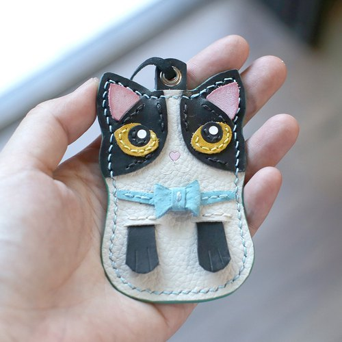 Cat - Mercedes Black and White Cat Handmade Leather Charm