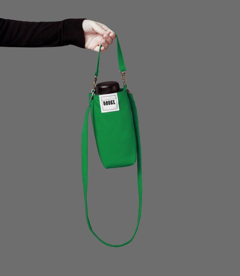 Universal environmentally friendly beverage bag detachable long strap with oblique shoulder carrying green