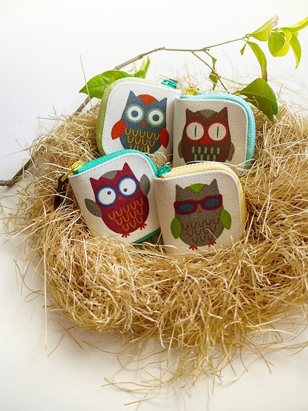 owl. Small purse / wallet / short clip / wallet / Storage bag