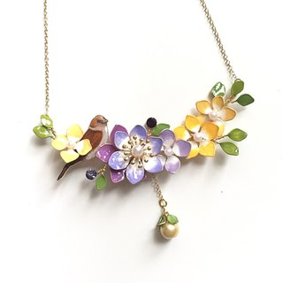 Aramore Purple Yellow Copper Flower and Bird Hanging Bead Necklace