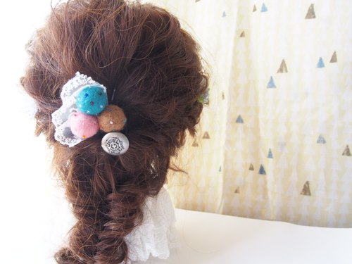 Felt ball hair rubber wool fert hair ring accessory (pink & beige & light blue)
