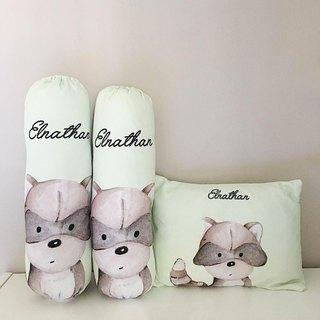 Racoon Personalized Baby Bolster and Pillow