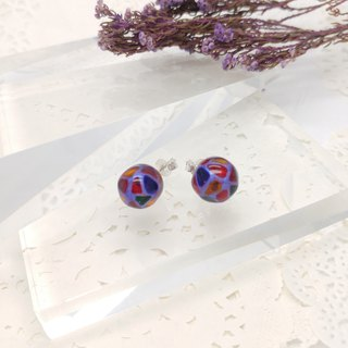 10mm Glass-painted Sterling Silver earrings - Purple line, Color