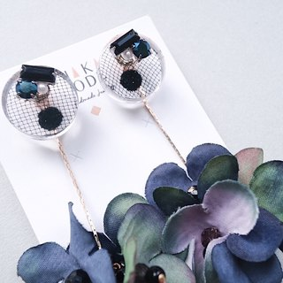 [Early autumn series] dual-use transparent black gauze Epoxy blue purple flower handmade earrings / ear clip