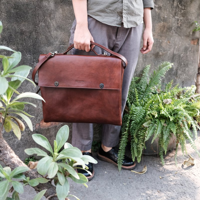 Italian tanning association leather leather handmade leather bag vegetable tanned brown hand / shoulder