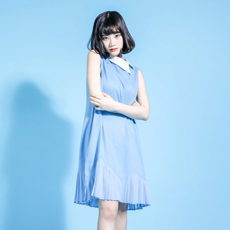 SU: MI said Picnic Green Hill picnic cotton linen dress _7SF025_ blue