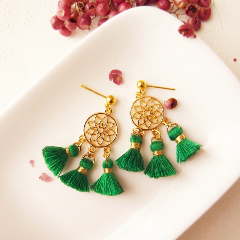 Small dream net - drape earrings / can change the ear clip, hypoallergenic stainless steel ear pin