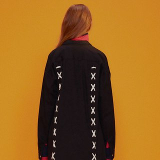 UNISEX LACE-UP BACK SHIRT JACKET / Black