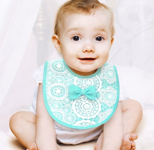 PUREST baby collection [US] how to pocket pink princess lace bow pink female baby bibs [] Green Lake