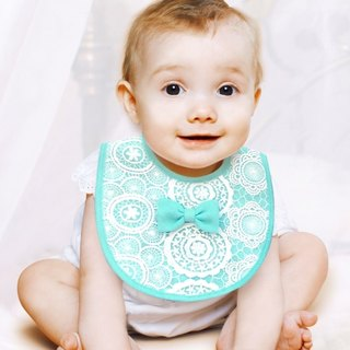 PUREST little princess bow baby lace bib / saliva towel (powder green)