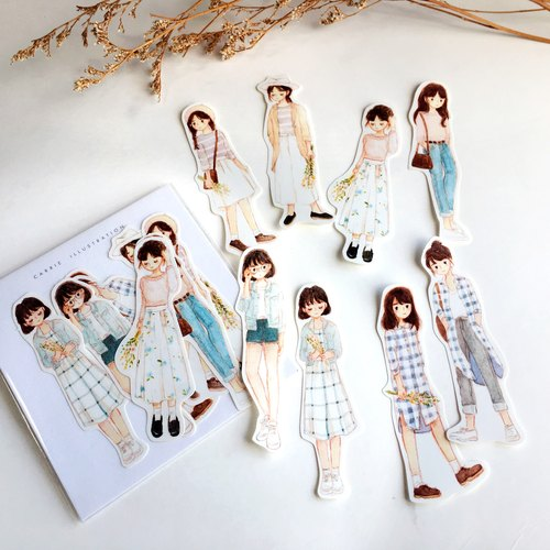 / Stickers/ Pastel Fashion / 8pcs /