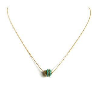 Ficelle | Handmade Brass Natural Stone Necklace | [Turquoise] Nepal Handmade Precious Stone Necklace