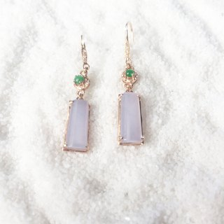 Hyacinth - natural ice purple jade (Burma jade) 750 rose K gold earrings