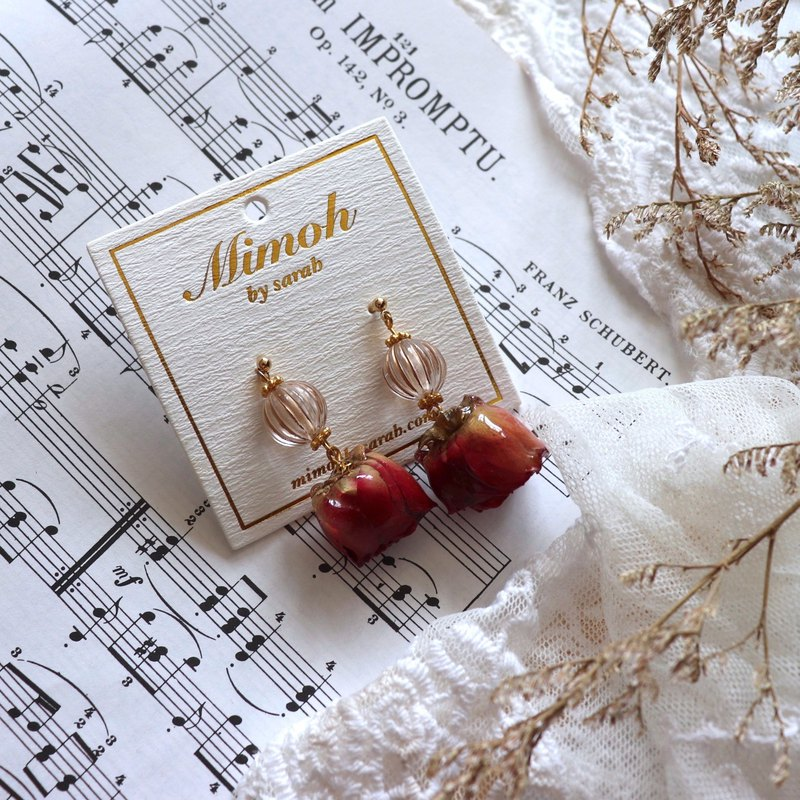 Red Rose Earrings with Vintage Pumpkin Beads