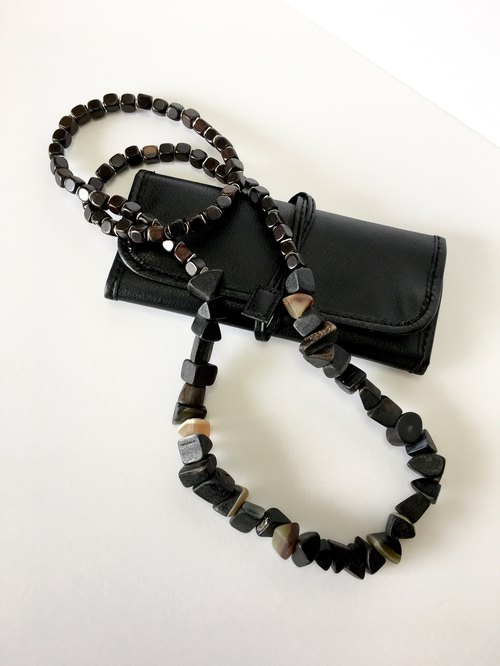 Cow horn and Ebony long necklace
