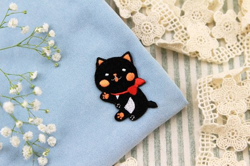 Mystical pretty black meow self-adhesive embroidered cloth stickers - baby meow meow series