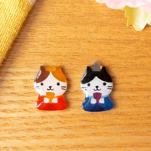 Meow - girl and boy cats earrings