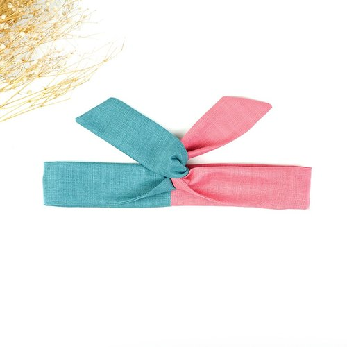 Calf Village Calf Village Handmade Hairpin Aluminum Hair with Multiple Styling Headband Japanese Plain Splicing {Ocean Rose} Lake Blue / Pink 【A-199】