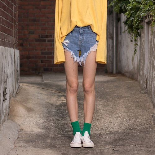 [VITALSIGN] 17 S/S Vintage Distressed Light Washed Denim Shorts
