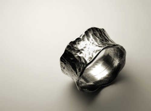 Wide version of the lace concave silver ring